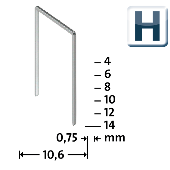 fine wire staples H type 37